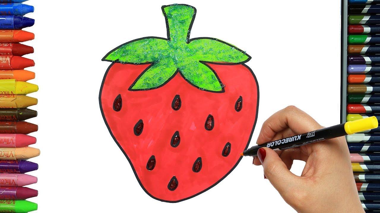 Cómo Dibujar Y Colorear Fresa Dibujos Para Niños Youtube