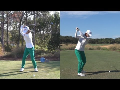 NA YEON CHOI - SYNCED DRIVER GOLF SWING FROM CME DTL & FACE ON - REG & SLOW MOTION 1080p HD
