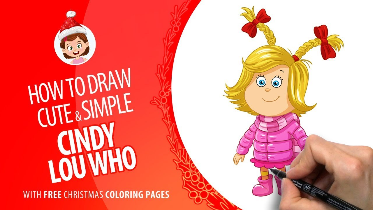 - How To Draw Simple And Cute Cindy Lou Who Free Christmas