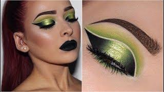 Lime Green Double Cut Crease w/ Black Lips | Makeup Tutorial thumbnail