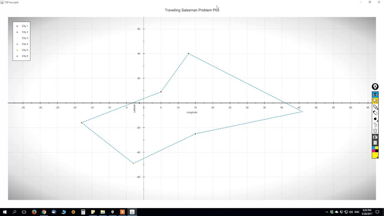 Travelling Salesman Problem (TSP) in Java (GitHub link below)
