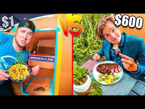$1 VS. $600 Box Fort Restaurant Challenge