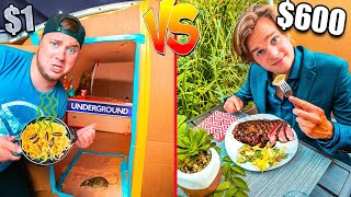 $1 VS. $600 Box Fort Restaurant! Super Gross Food *Budget Challenge*