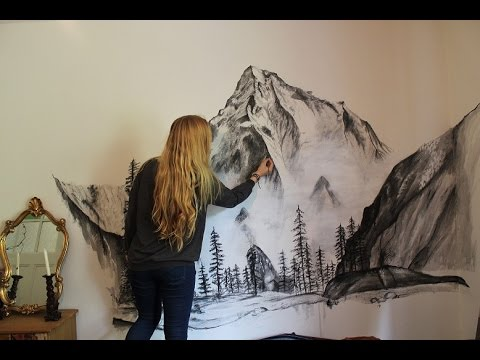 Misty mountains wall speed painting youtube for A mural is painted on a