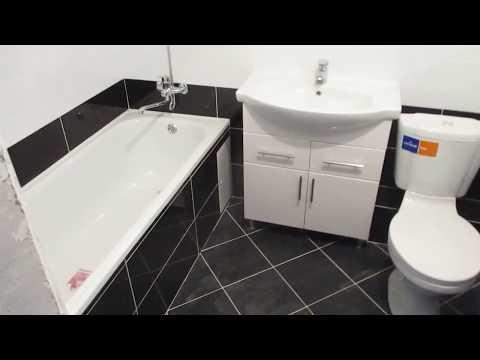Ванная комната из черно белой плитки.г.Брянск.