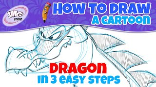 How to draw a cute cartoon dragon in 3 easy steps with John Marc
