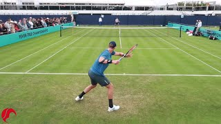 Kevin Anderson Training for Wimbledon - Court Level View
