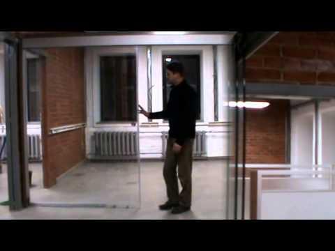 Раздвижная стеклянная перегородка для комнаты или офиса