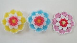 코바늘 수세미/  꽃속의꽃수세미  Crochet   flower dish scrubby