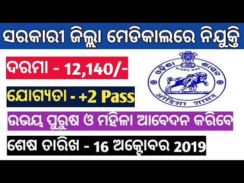 Job in District Goverment Medical odisha 2019 Job in Odisha Govt Medical
