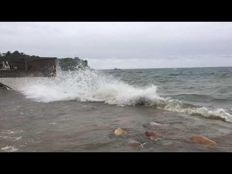 Lake Huron's High Waters Crash At Port Austin Harbor