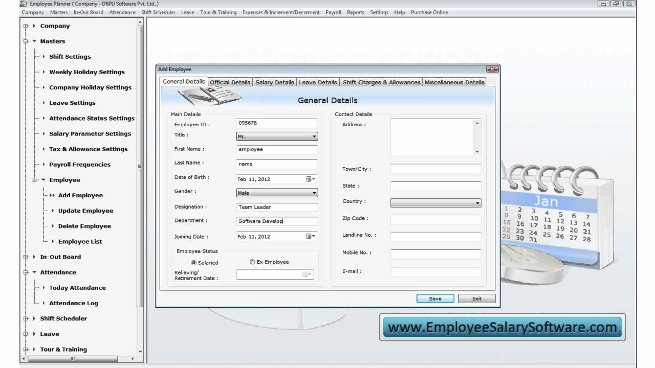 employee salary software payroll calculator in out time shift
