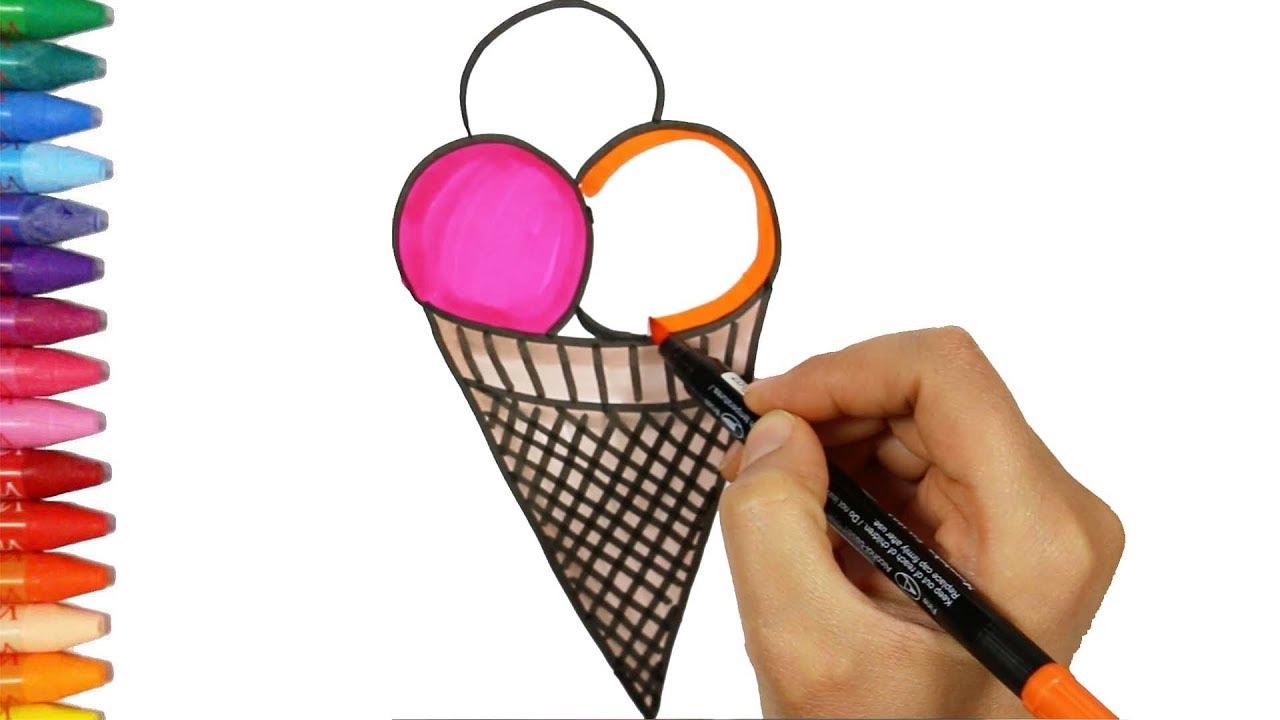 come disegnare un gelato colorato🍦| come disegnare e colora per i ... - Disegno Stella Colorate