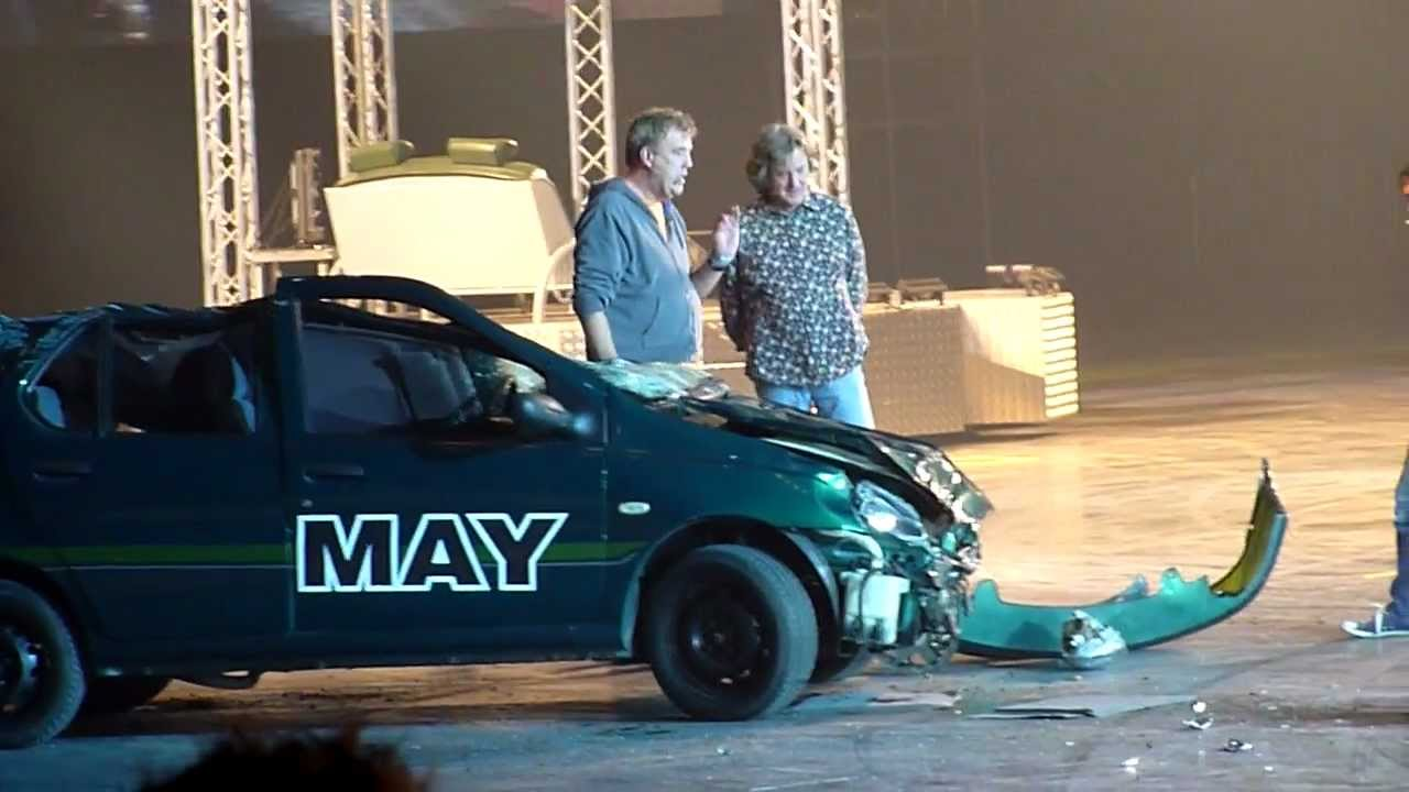 James May Car Gets Crushed By Monster Truck At Top Gear Live
