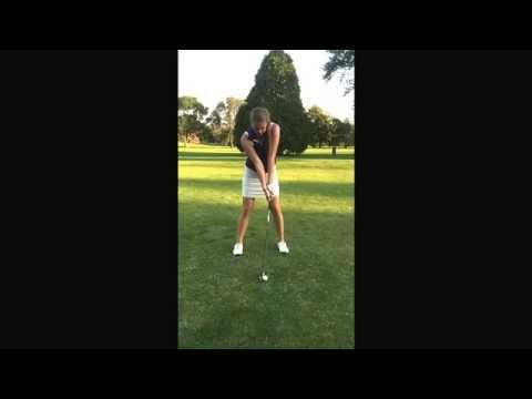 Straight Arm, women golfer swings after practicing with the Straight Arm golf training aid.