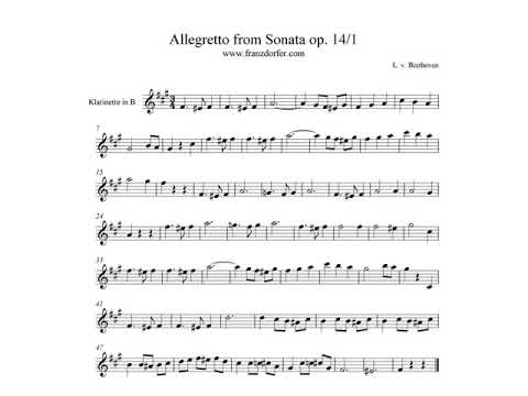 Allegretto from Sonata op14 1 Beethoven - play Clarinet