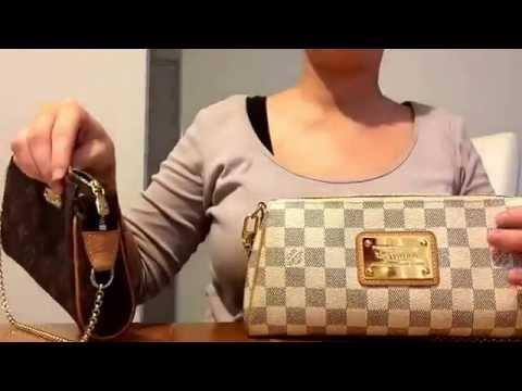 Authentic Louis Vuitton Eva Clutch Bag Damier Azur Mono Compare