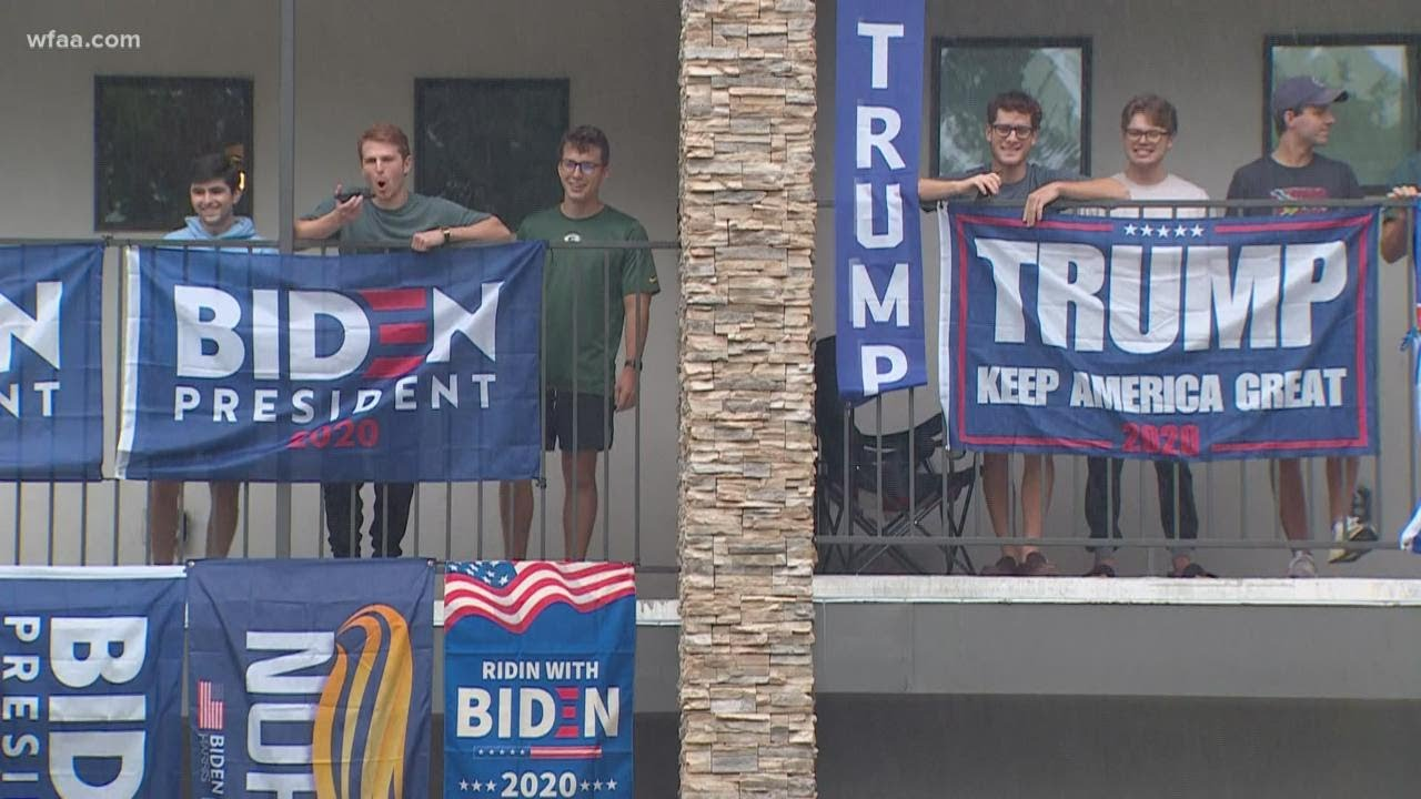 House divided: College seniors fly Biden, Trump flags in friendly political battle at Dallas home