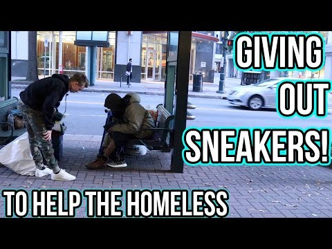 GIVING HOMELESS PEOPLE NEW SNEAKERS!! (Emotional)