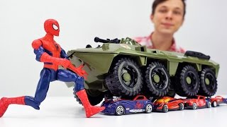 Видео для детей: #Супергерои. #ЧеловекПаук против Джокера: вернём машинки! Папа Тайм.