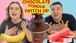Συντριβάνι Σοκολάτας Switch Up !!! ΣΟΚ το ΤΊ Φάγαμε με Σοκολάτα 🤢 CHOCOLATE FONDUE CHALLENGE