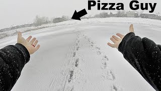 Will they Deliver Pizza ON THE ICE??? (Driver was PISSED!!)