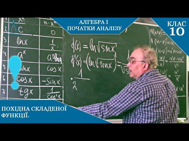 10 клас. Алгебра. Похідна складеної функції.