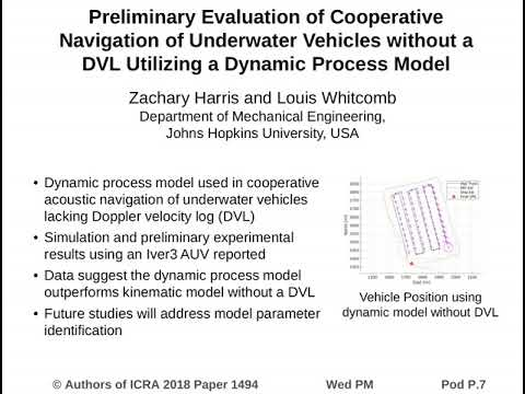 Preliminary Evaluation of Cooperative Navigation of Underwater Vehicles without a DVL Utilizing a Dy