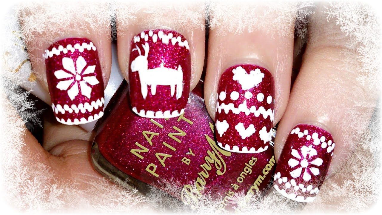 Christmas Sweater Nail Art Tutorial No Stamping Required Youtube