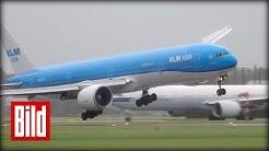 Pilot landet trotz Sturm - Boeing 777 durch Wind in Seitenlage ( weather / Amsterdam / Schipol )