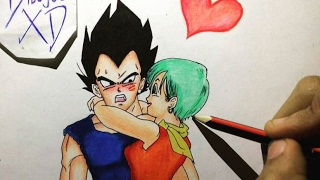 Dibujando a Vegeta y Bulma- Dragon Ball Z | Drawing vegeta and bulma | DibujosXD