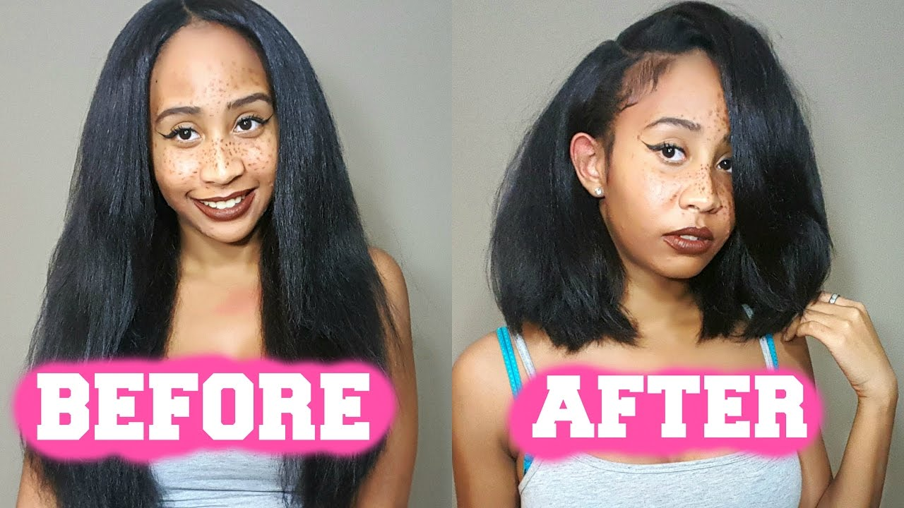 HOW TO CUT A WIG INTO A BOB TUTORIAL (EASIEST METHOD)!!! - YouTube 78937bb1e1d9