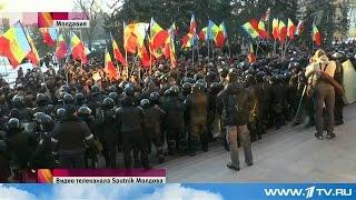 Запрещенный в Молдове репортаж 1 канала о многотысячных протестах в Кишиневе (25.01.2016)