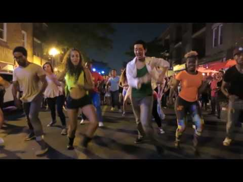Cuban Salsa FlashMob at the Street Latin Dancing on August 19 2016