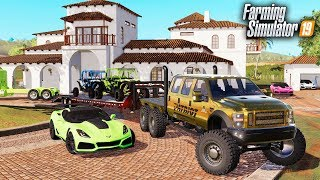FS19- LIFE OF A BILLIONAIRE! BUYING MANSION, GOLD F-550 6x6, CORVETTE ZR1 & MORE
