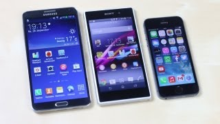samsung galaxy note 3 vs sony xperia z1 vs apple iphone 5s benchmark   swagtab