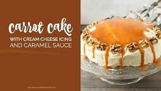 Carrot Cake with Cream Cheese Frosting and Caramel Sauce