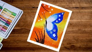 Butterfly Drawing With Oil Pastel | Oil Pastel Drawing For Beginners | Butterfly Scenery Drawing
