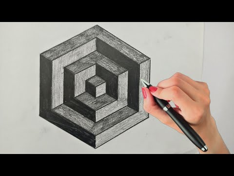 how-to-draw-a-3d-hexagon-!-3d-drawing-on-paper-!-optical-illusion-drawing-!-3d-trick-art