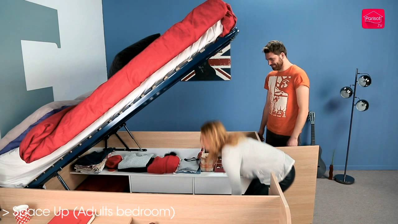 Parisot Space Up Double Storage Bed - YouTube