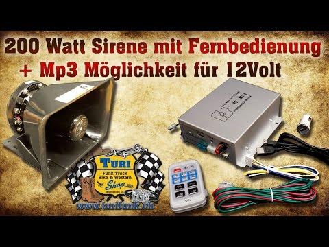 12Volt Sirene mit MP3 möglichkeit und Fernbedienung