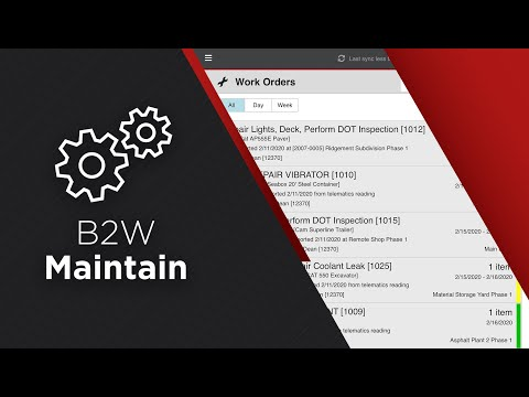B2W Maintain - Heavy Civil Construction Fleet Maintenance Software