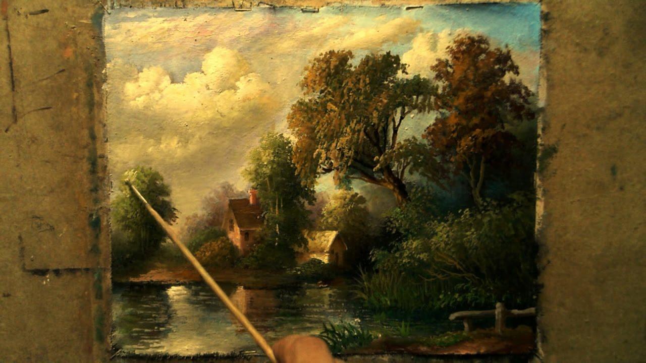 painting landscape oil canvas