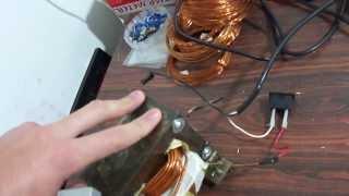 Transformador de micro ondas modificado (como não fazer!)