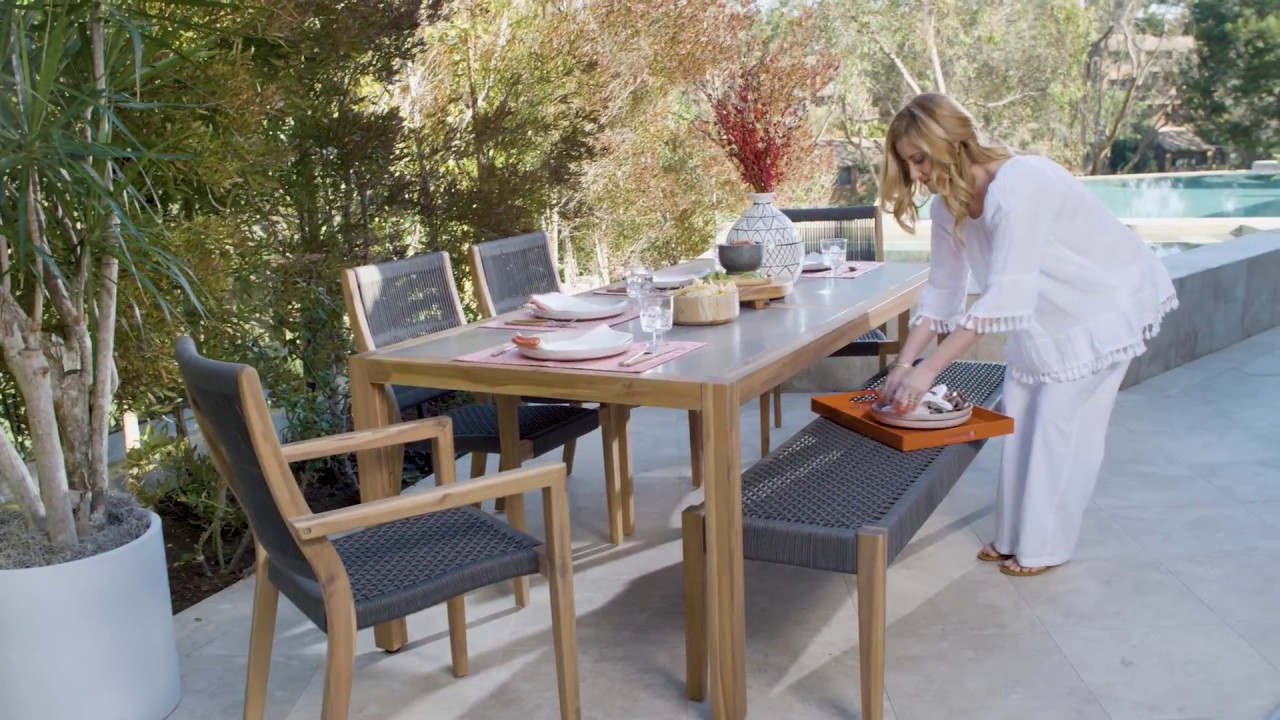 living spaces outdoor furniture country garden outdoor sienna dining table with arm chairs bench living spaces