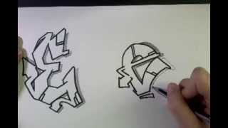 "How to draw Graffiti Letter ""E"" on paper"