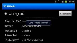 Descifrar contraseñas wifi con android apk WLANAudit WEP y WPA por defecto.