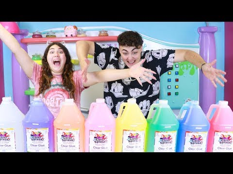 GIANT 3 COLORS OF GLUE SLIME CHALLENGE GALLON SIZE ~ Slimeatory #409