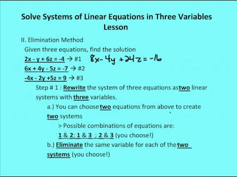 3.4 Solve Systems of Linear Equations in Three Variables (Lesson ...