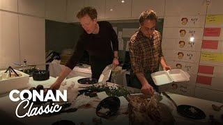 "Conan & Max Eat Thanksgiving Dinner Together - ""Late Night With Conan O'Brien"""